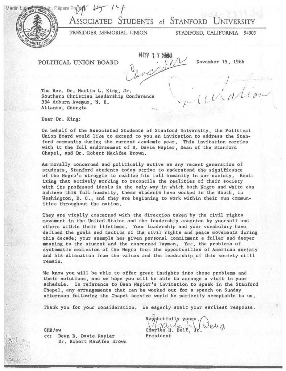 years ago martin luther king jr speaks at stanford invitation asking dr king to speak at stanford