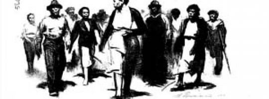 A black and white drawing of African Americans marching in Montgomery, Ala.