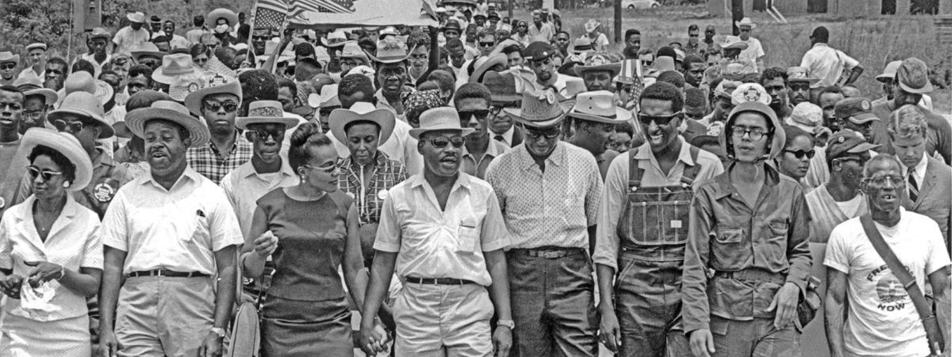 King marches with Juanita Abernathy, Ralph Abernathy, Coretta Scott King, Floyd McKissick, Stokely Carmichael, and others, Meredith March Against Fear, June 1966.