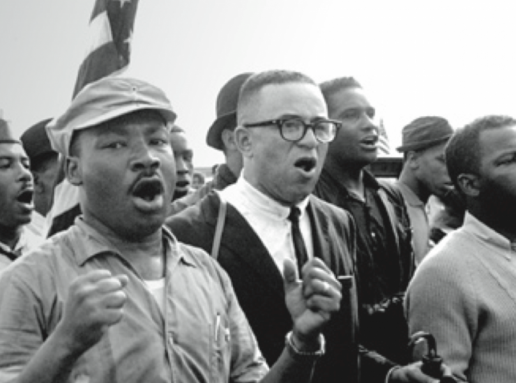 King, James Forman, John Lewis, and others on the Selma to Montgomery March, © Matt Herron/Take Stock/The Image Works