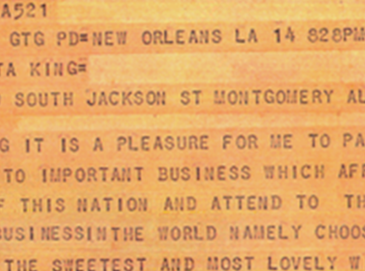 King's Valentines Day telegram to Coretta, Courtesy of Coretta Scott King Collection