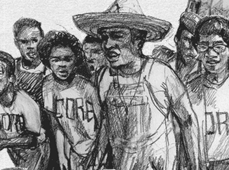 Drawing of CORE members by Evan Bissell
