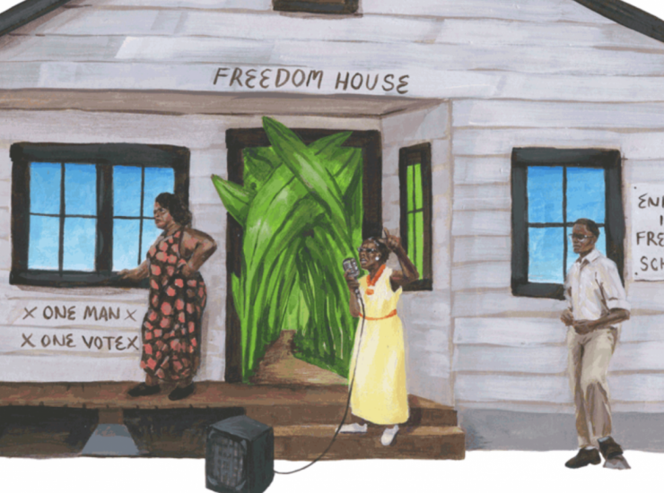 Painting of participants at a voter education school, Drawing by Evan Bissell