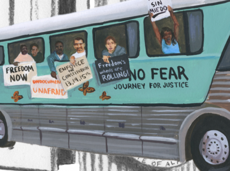 Painting of civil rights demonstrators on a bus, Drawing by Evan Bissell