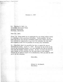 Response letter from Dr. King to speak at Stanford