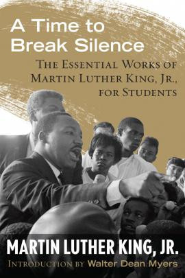 """Black and gold cover of curriculum guide, """"A Time to Break Silence."""" King speaks out to a crowd."""