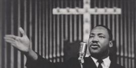 Dr. King at a mass meeting