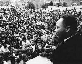 King speaking to a crowd in Selma, Alabama