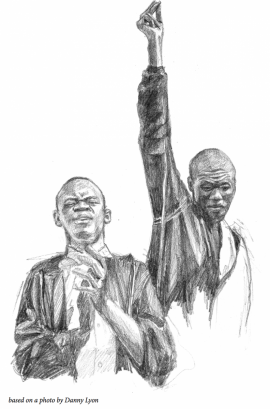 Illustration of SNCC activists singing Freedom Songs