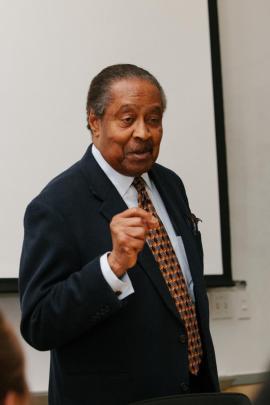 King Institute Scholar-in-Residence Clarence B. Jones addresses the workshop.