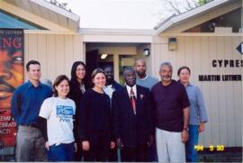 Photo of Rev. Fred L. Shuttlesworth with Dr. Clayborne Carson and King Institute Staff