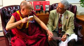 Photograph of the Dalai Lama and Clayborne Carson