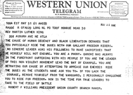 Image of a May 31, 1961 telegram from Robert F. Williams to Martin Luther King, Jr., urging him to join the Freedom Rides.