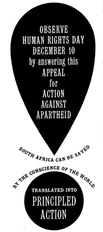 Flyer, Appeal for Action against Apartheid