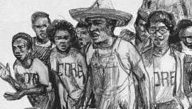 Illustration of activists marching