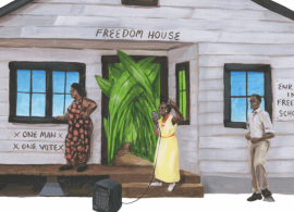 """Illustration of activists encouraging voter registration. Three black people stand outside a house with a sign saying """"Freedom House"""" above the door."""