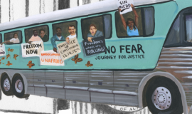 Artistic rendition of freedom riders, past and present, sit on a blue bus. Riders sit holding signs out of the windows of the bus.