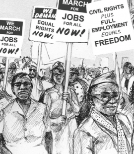 Freedom's Ring drawing of marchers by Evan Bissell