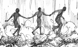 AN illustration of three young black marchers linked by the hand as they face fire hoses in Birmingham, Alabama