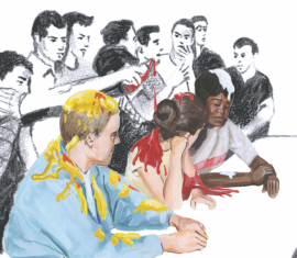 Drawing of a sit-in when angry whites poured food, ketchup, and mustard over students trying to integrate lunch counters. The students are drawn in color and the protesters are depicted in black and white.