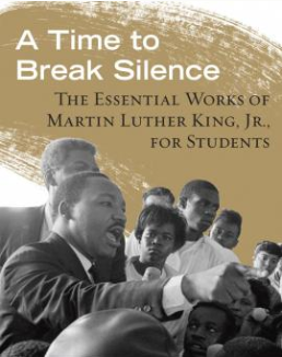 "Beacon Press' ""A Time to Break Silence"" cover with picture of King with his arm raised addressing small crowd of people."