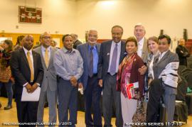 Clarence Jones, Clayborne Carson, Barbara Lee, and others at a lecture where Jones and Carson spoke.