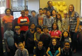 Clarence Jones and Andrea McEvoy Spero with students from St. Paul's Episcopal School in Oakland.