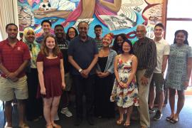 Sophomore College students with Clarence Jones and Clayborne Carson