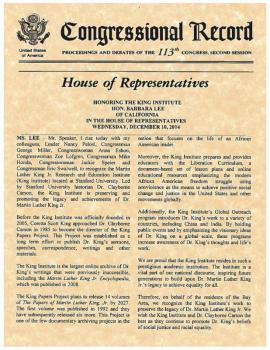 Congressional Record transcript of Barbara Lee's statement during presentation of Congressional Honor to the King Institute.