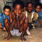 With kids in Zanzibar City, July 1990