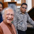 With Ravi Shankar, George Duke, and Herbie Hancock at Ravi Shankar Centre in New Delhi, February 14, 2009