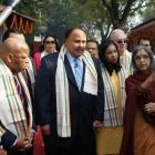 Rep. Shirley Jackson Lee, Rep. John Lewis, Martin Luther King III, Arndrea King, Harris Wofford, and Tara Gandhi Bhattacharjee at Gandhi Smriti (site of Gandhi assassination, New Delhi, February 16, 2009