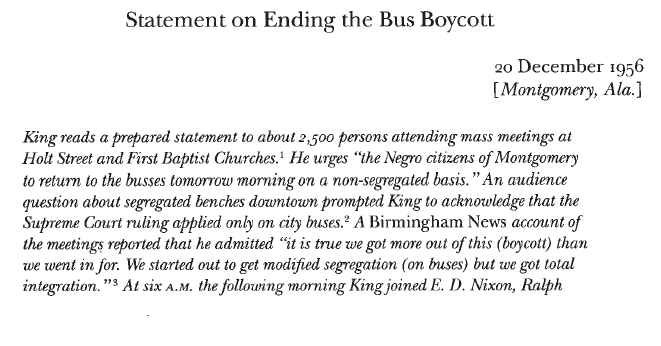 Statement on Ending the Bus Boycott | The Martin Luther King