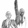 Drawing of SNCC Activists singing; two black men next to each other, the one on the left clapping, the one on the right holding his right fist up towards the sky.