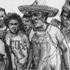 Illustration of protesters, some wearing shirts with the acronym for the Congress of Racial Equality (CORE).