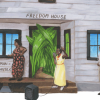 "Illustration of activists encouraging voter registration. Three black people stand outside a house with a sign saying ""Freedom House"" above the door."